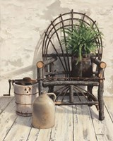 Wicker Chair With Ice Cream Churn Fine-Art Print