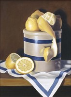 Blue Stripes & Lemons Fine-Art Print