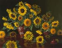Sunflowers with Two Crimson Vases Fine-Art Print
