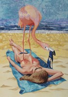 Flamingo On Sun Bather Fine-Art Print