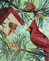 Cardinals And Birdhouse Fine-Art Print