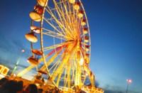 Gold Lit Ferris Wheel at Night Fine-Art Print