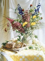 Wild Flowers And Yellow Quilt W/Bread Fine-Art Print