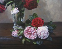 Ruby And Peppermint Roses Fine-Art Print