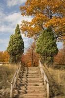 Wooden Steps In Autumn, Marquette, Michigan 12 Fine-Art Print