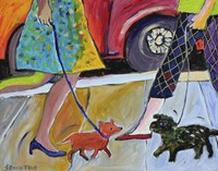 2 Women and 2 Dogs Meet on the Street Fine-Art Print