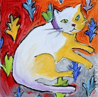 Kitty with Leaf Pattern Fine-Art Print
