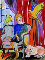Woman With Parrots And A Dog Fine-Art Print