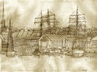Boston Harbor c. 1877 Sepia Tone Fine-Art Print