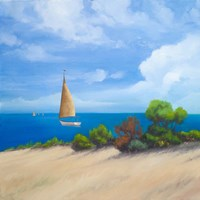 Sailboat on Coast I Fine-Art Print