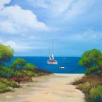 Sailboat on Coast II Fine-Art Print
