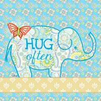 Blue Elephant I - Hug Often Fine-Art Print