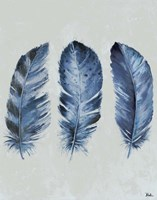 Indigo Blue Feathers II Fine-Art Print
