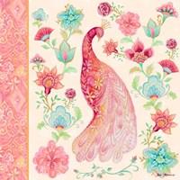 Pink Medallion Peacock I Fine-Art Print