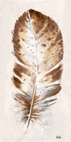 Brown Watercolor Feather I Fine-Art Print