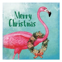 Christmas Flamingo Text Fine-Art Print