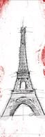 Eiffel Red Pop Sketch Fine-Art Print