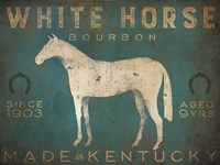 White Horse with Words Blue Fine-Art Print