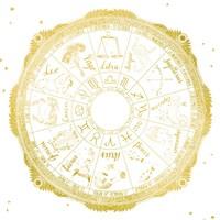 Night Sky Zodiac White and Gold Fine-Art Print