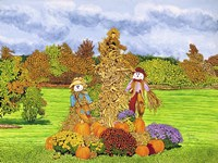 Pumpkins And Scarecrows, Eden Ny Fine-Art Print