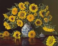 Sunflowers in Blue and White Vase Fine-Art Print