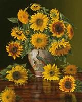 Sunflowers In A Peacock Vase Fine-Art Print