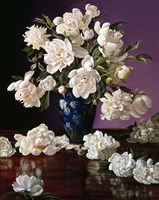 White Peonies in Blue Chinese Vase Fine-Art Print