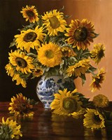 Sunflowers in a Blue Willow Vase Fine-Art Print