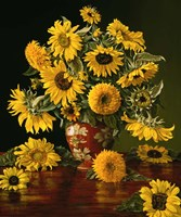 Sunflowers in a Crimson Vase Fine-Art Print