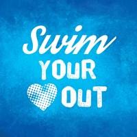 Swim Your Heart Out - Blue Vintage Fine-Art Print