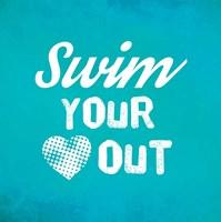 Swim Your Heart Out - Teal Vintage Fine-Art Print