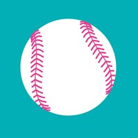 White Softball on Teal Fine-Art Print