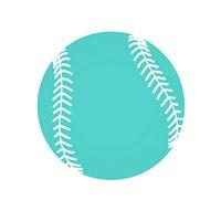 Teal Softball on White Fine-Art Print