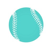 Teal Softball on White Fine-Art Print