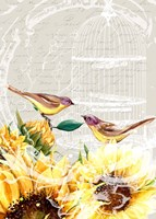 Sunflower Birds I Fine-Art Print