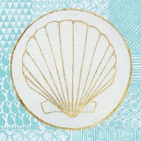 Summer Shells II Teal and Gold Fine-Art Print