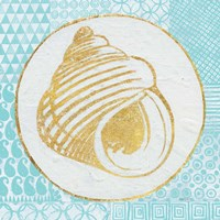 Summer Shells III Teal and Gold Fine-Art Print