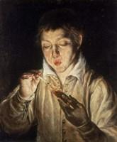 Boy Blowing over Hot Carbon Fine-Art Print