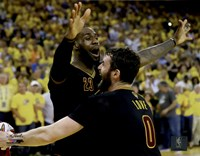 Lebron James & Kevin Love celebrate winning Game 7 of the 2016 NBA Finals Fine-Art Print