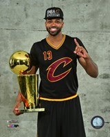 Tristan Thompson with the NBA Championship Trophy Game 7 of the 2016 NBA Finals Fine-Art Print