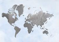 Silver Foil World Map on Blue - Metallic Foil Fine-Art Print
