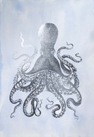 Silver Foil Octopus II on Blue Wash - Metallic Foil Fine-Art Print