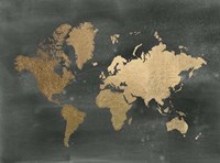 Gold Foil World Map on Black - Metallic Foil Fine-Art Print