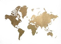 Large Gold Foil World Map - Metallic Foil Fine-Art Print
