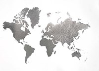 Large Silver Foil World Map - Metallic Foil Fine-Art Print