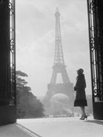 Woman Looking Toward Eiffel Tower Fine-Art Print