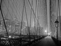 On Brooklyn Bridge by Night, NYC Fine-Art Print