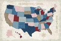 USA Modern Vintage Blue Fine-Art Print