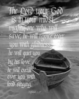Zephaniah 3:17 The Lord Your God (Beach Black & White) Fine-Art Print