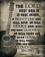 Zephaniah 3:17 The Lord Your God (Guitar Sepia) Fine-Art Print